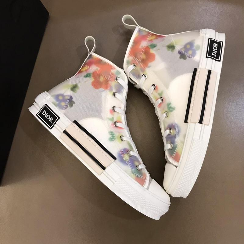 2050290 Clear New Flower Pattern Stitching Waterproof Upper New Casual Shoes High Help Buckles Lace-ups Loafers Drivers Sneakers Shoes