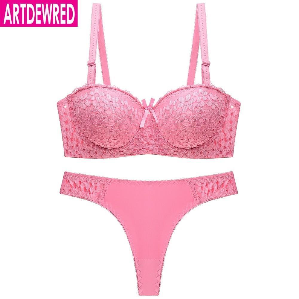 0e7e8e2727f 2019 Sexy Lace Half Cup Push Up Bras Ladies Bra Sets Women Underwear Set  Matching Thong From Redbud06