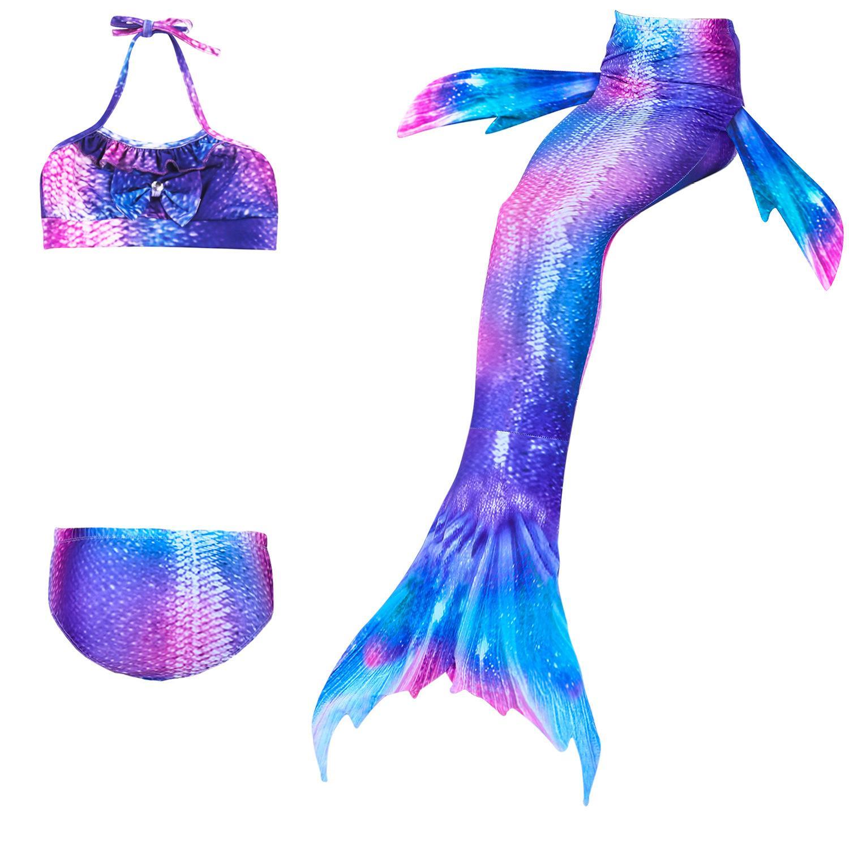 1b2b915af1f6 Nuevo! Niños Sirena colas Ropa de natación La Sirenita Ariel Girls traje de  baño Bikini Set 3 unids / set Traje de baño 12 colores Traje de baño