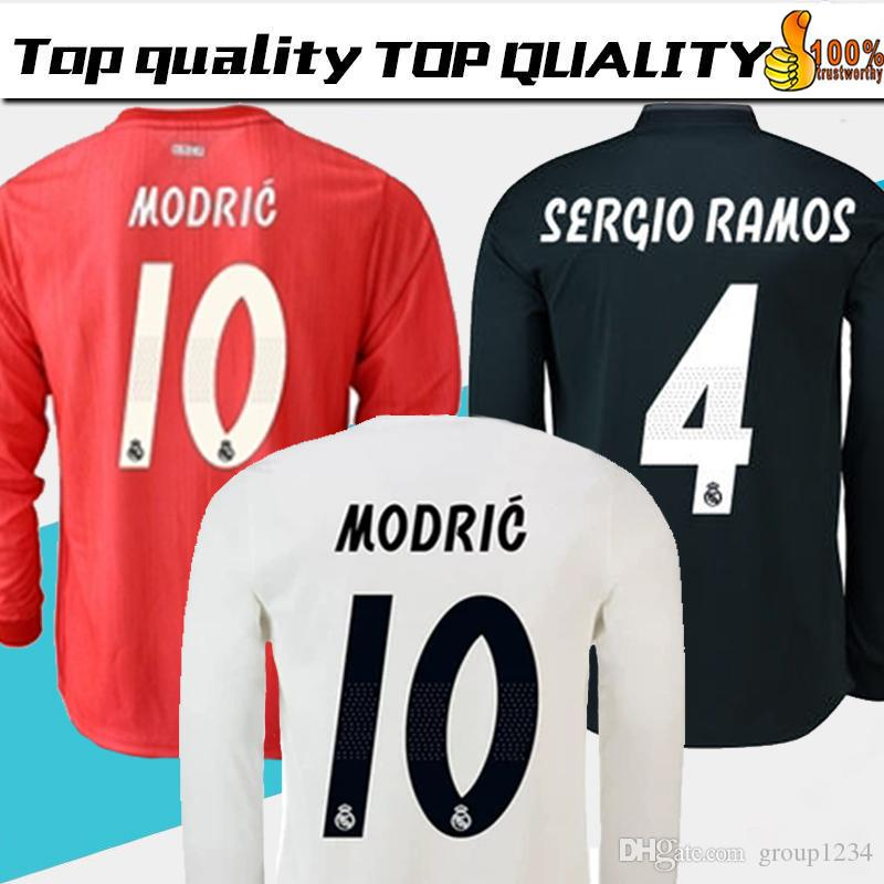 low priced fdb53 79cac 18/19 Real Madrid Player version Long Sleeve Champions League Soccer Jersey  2019 Home RAMOS KROOS ISCO ASENSIO MODRIC MARCELO football shirt