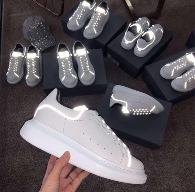 hot sales ef51e bbd5c Hohe leuchtende Schuhe des ledernen reflektierenden Paares 2019 neue Schuhe  verbinden weiße Schuhe, Geisterschritt-Tanzschuhe, leuchtende Schuhe G0.12
