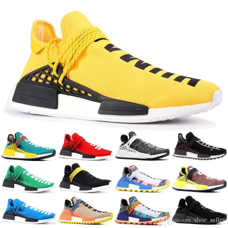 2019 Adidas yeezy NMD Human Race Zapatillas de running para hombre Pharrell Williams de muestra Yellow Solar Pack Sport Designer Shoes Mujer