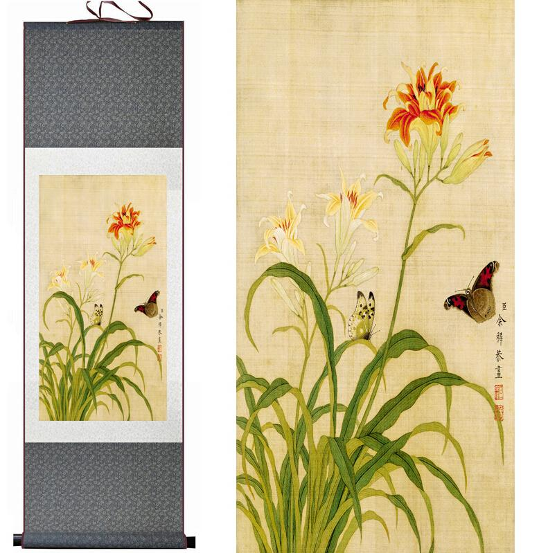 Spring Butterfly And Flowers Painting Home Office Decoration Chinese Scroll BirdsAnd Flower Painting