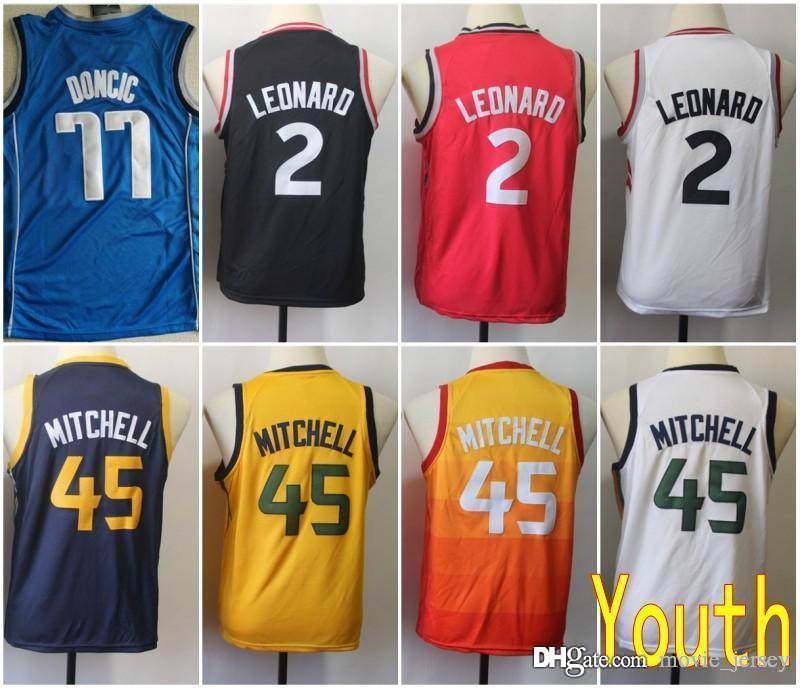 00b1e8bc48f 2019 Youth Kids Dallas 77 Doncic Mavericks Jersey Utah  45 Donovan Luka  Mitchell San Antonio 2 Leonard Spurs Kawhi Stitched Size S XL From  Movie jersey