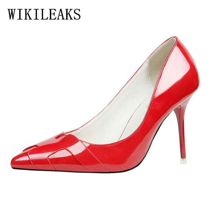 5832c7e0 Compre Vestido De Diseñador Zapatos De Boda Mujer Stilettos Zapatos De Mujer  Patente Italiana Marca De Lujo Tacones Altos Extremos Bombas Rojas Salto  Alto A ...