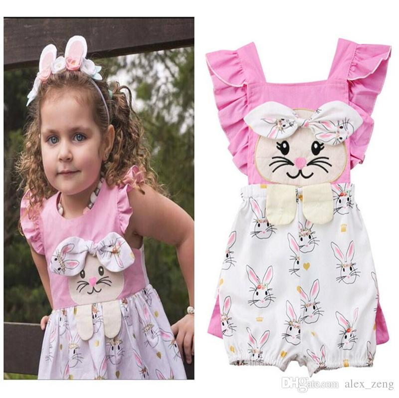 9956b6b0edf 2019 Baby Girls Pink Rabbit Print Romper Clothes Cute Newborn Summer Cotton  Bow Ruffle Suspender Jumpsuit Outfits Toddler Kids Sunsuit From Alex zeng