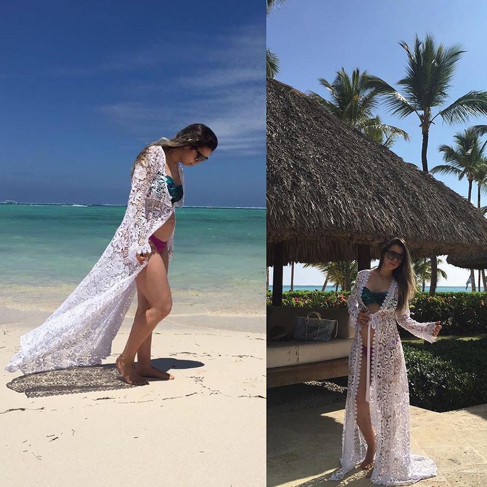 Vikionfly Sexy Crochet Beach Cover Up For Women Tunic Summer Long Swimsuit Bikini Coverups Beach Wear Swim Dress Beachwear
