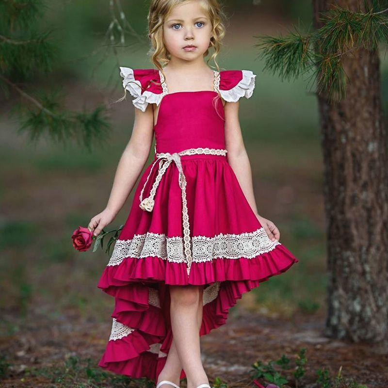f1854364a Compre Vestido De Cóctel Para Niños Vestido De Cola Larga Para Niñas El  Pequeño Vestido De Cola De Sirena Rojo Purpúreo Fiesta De Las Muchachas  Vestidos De ...