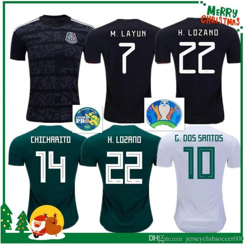 6129d70bf 2019 2019 2020 Mexico GOLD CUP Black KIT Soccer Jerseys 2018 World Cup Home  Away CHICHARITO Camisetas De Futbol H.LOZANO G.DOS SANTOS Shirts From ...