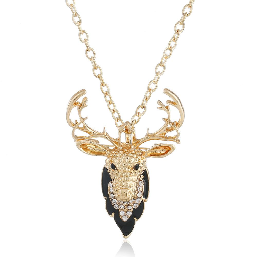 Charming Elk Deer Necklace Collar Pendant Classic Vintage Statement Necklace Choker Popular Jewelry animal elk antlers Pendants & Necklaces