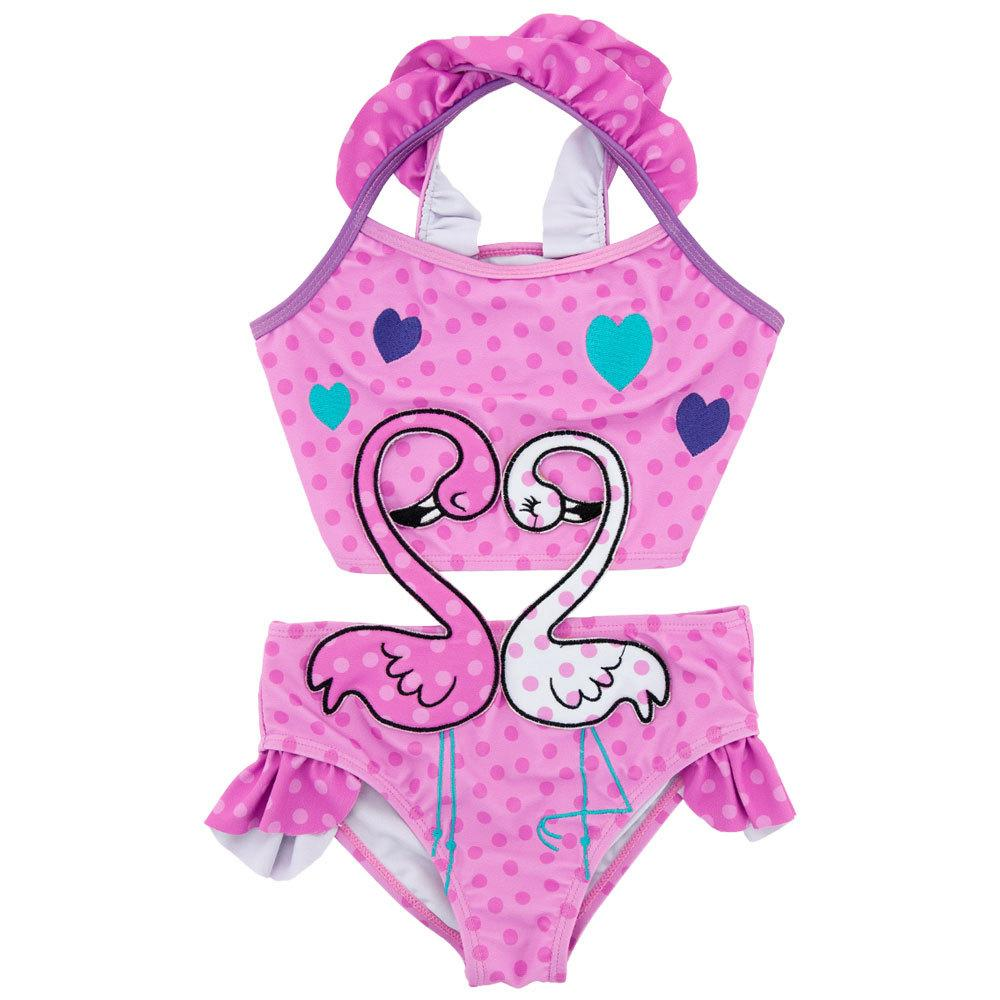 Ms.Shang One Piece Children Swimwear Baby Girl Swimsuit Pink Toddler Kids Bathing Suit 2018 Cute Cartoon Infant Child Swim Suits