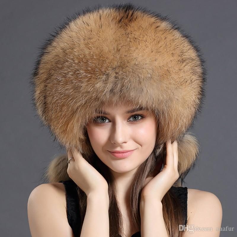 Winter Women Fur Hat New Bomber Hats Real Raccoon Fur Trapper Hats ... 294a309379b8