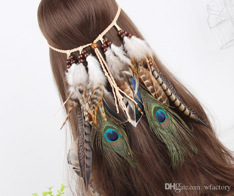 Bohemian Woman Headband Ethnic Style Piuma Accessori per capelli Copricapo Novità Copricapo Peacock Feather Hair Band Loop
