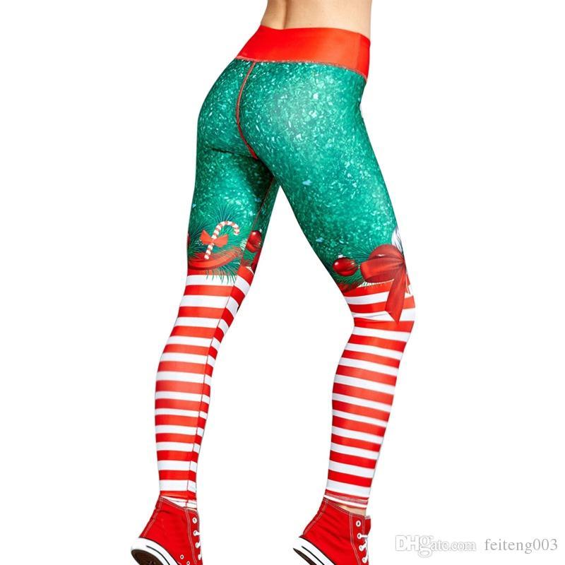 cb59170c97a2c2 Vertvie Women's Christmas Print Leggings Female High Waist Hip Yoga Pants  Put Hip Slim Red Leggins Jeggings Merry Christmas Pant #604134