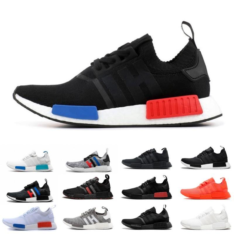 buy popular ad95f 451ea 2019 NMD R1 Primeknit Japan Triple Black white red OG pink men women  Outdoor Shoes runner breathable sports shoe trainer fashion sneakers