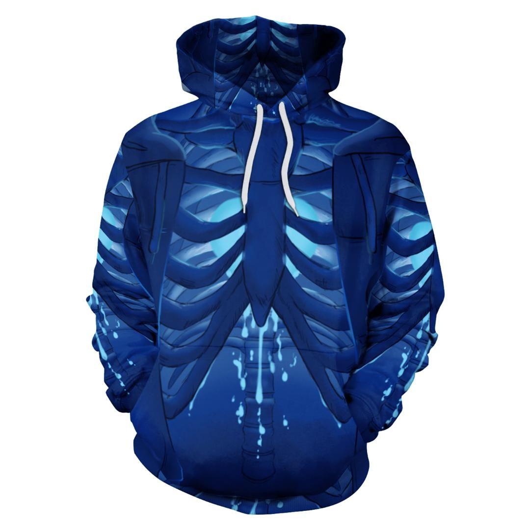 official photos 9b8a5 55eb8 Blauer Skelett Print Hoodies mit Hut Damen Pullover Lose Sweatshirt Unisex  Winterkleidung Sudaderas Mujer Paare Liebhaber Anzug