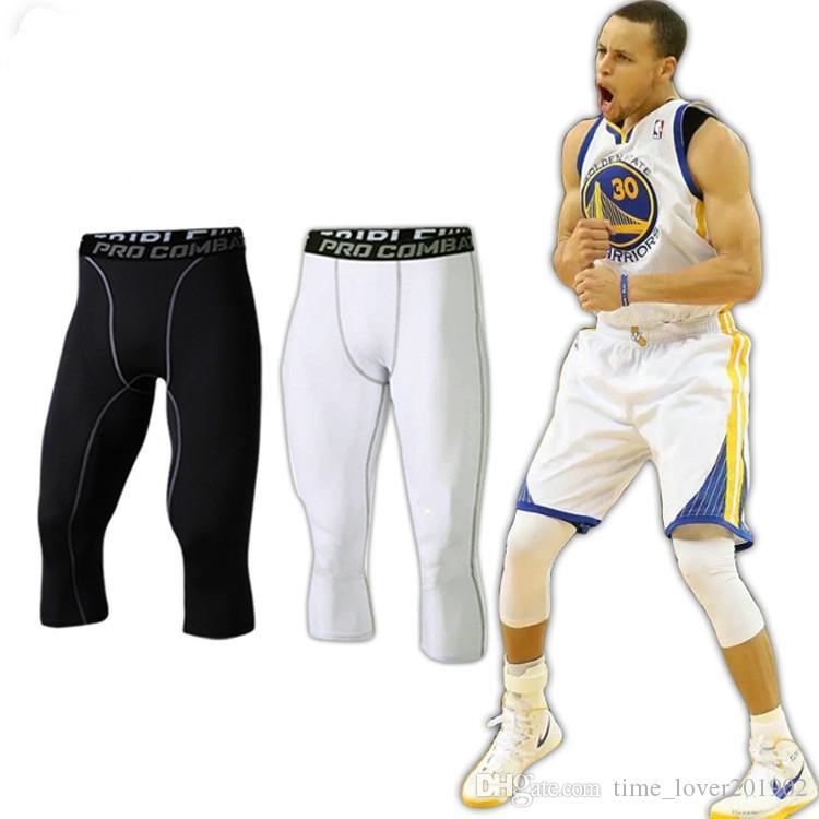 2019 streç pantolon Çabuk kuruyan egzersiz Sıkı Spor pantolon Erkek basketbol Run eğitim sıkıştırma Sıkı pantolon kırpılmış