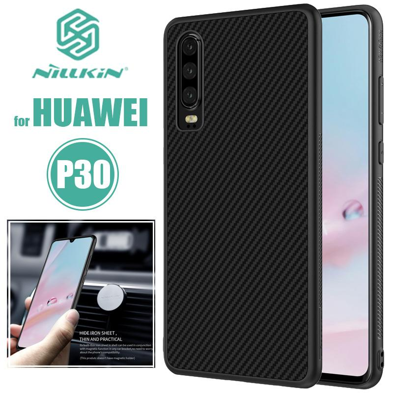 timeless design c8c1f f2c27 Huawei P30 Case Nillkin Synthetic Fiber Hard Back Cover Iron Magnetic Case  for Huawei P30 Pro