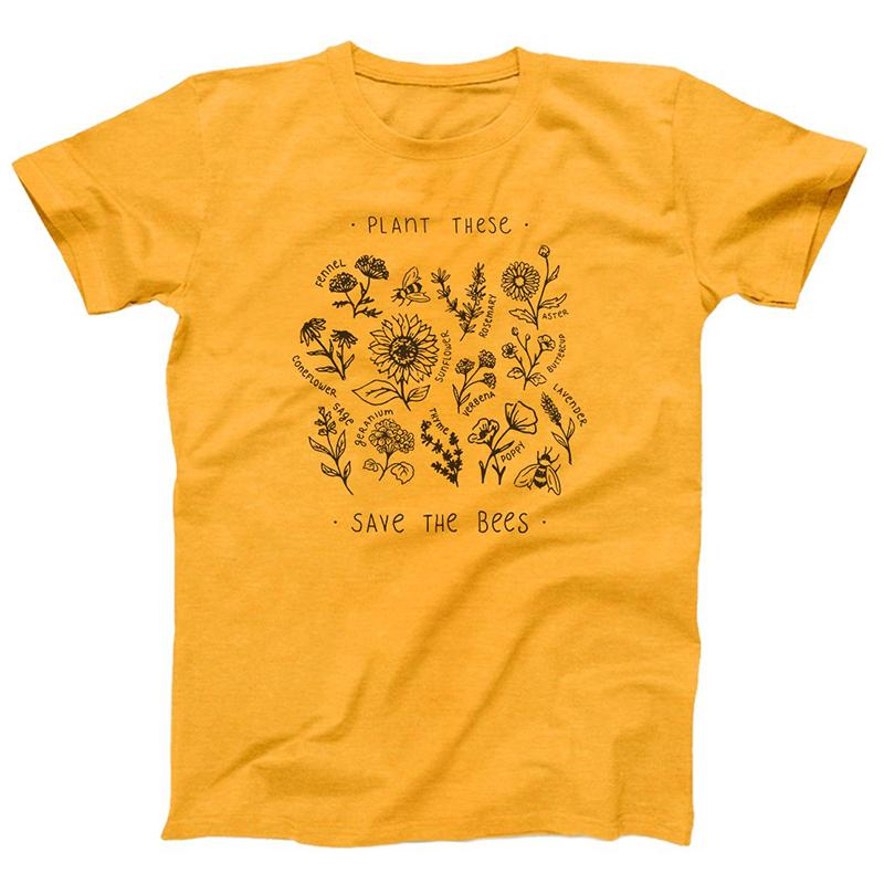 ecfd03f9 Save The Bees Yellow Cotton T Shirt Women Harajuku Graphic Tees Wildflower  Print Women Oversized Tops Unisex Tops Drop Shipping Trendy T Shirts For  Men ...