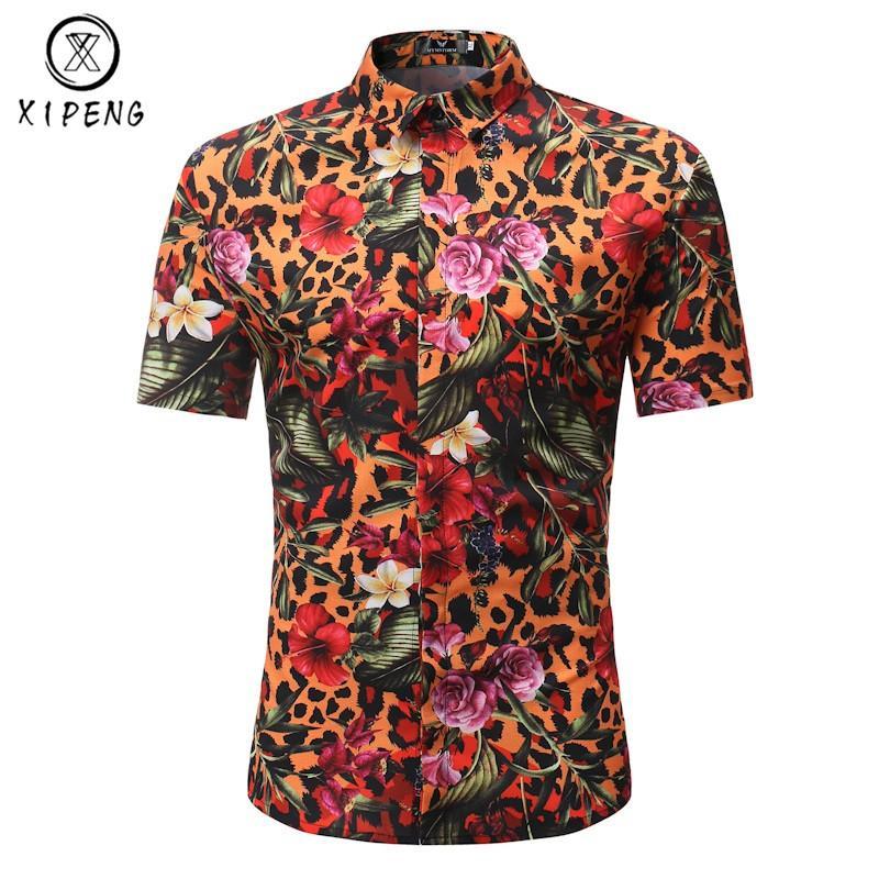 e1291e42 New 2019 Summer Men Short Sleeve Shirt Leopard Fashion Male Dress ...