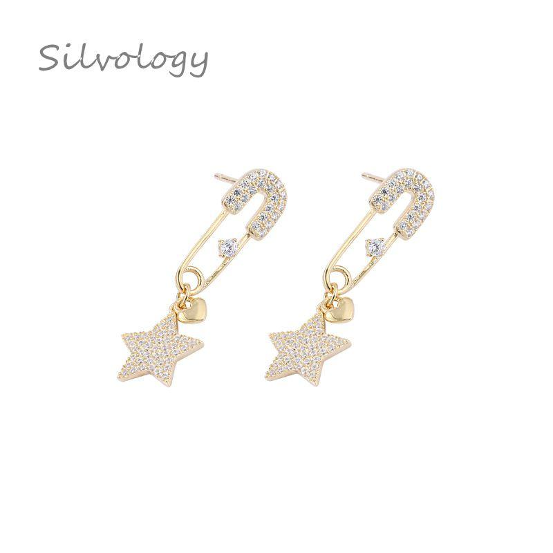 1321b81d4 Silvology 925 Sterling Silver Zircon Pin Star Heart Earrings Gold Texture  Creative Elegant Female Earrings New 925 Fine Jewelry Earrings Cheap  Earrings ...