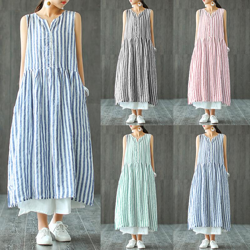 a1567345adc 2019 2019 Zanzea Striped Shirt Dress Womens Sundress Female V Neck Summer  Maxi Blue Dress Vintage Pleated Long Vestidos Robe Femme Y190425 From  Jinmei03, ...
