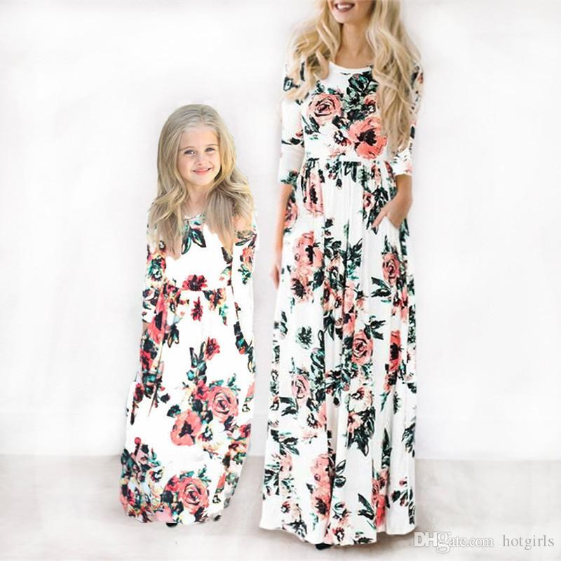 745afaa63a6f5 Long Dress 2019 Mother Daughter Dresses Clothes Summer Floral Print Long  Dresses Boho Beach Maxi Dress Tunic Evening Party mujer