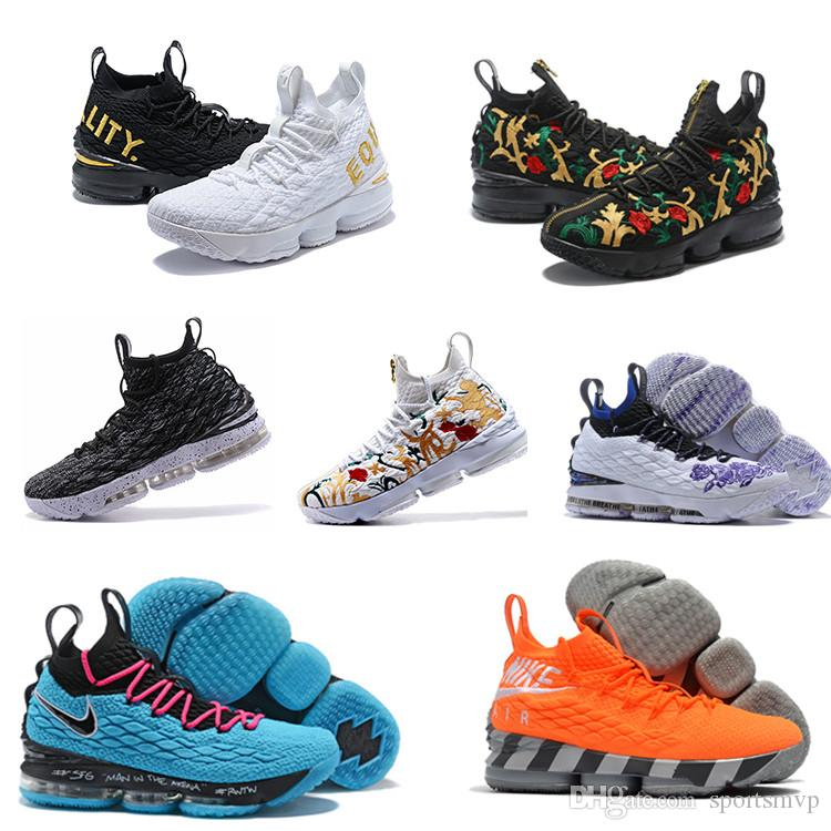 check out 795d3 52cc1 2018 Ashes Ghost Floral Lebrons 15 Basketball Shoes 2019 Lebron shoes  Sneaker 15s Mens sports Shoes James LBJ us 7-12