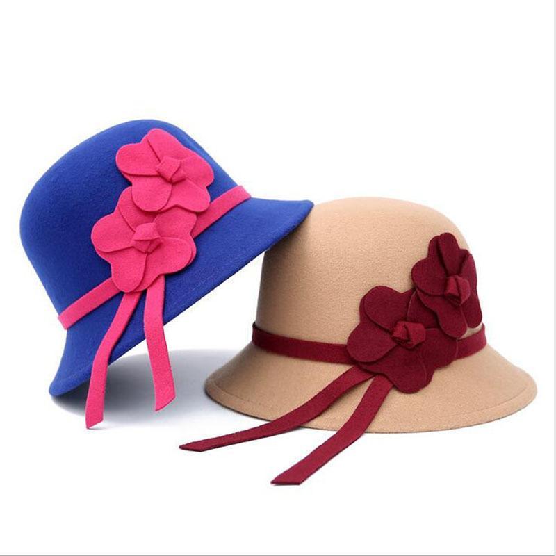 a2aad5917 [ozyc] Vintage Stylish Fall Winter Fedoras Hat For Women Flowers Top Hat  For Lady Girls Floppy Cartola Female Felt Bowler Cap D19011102