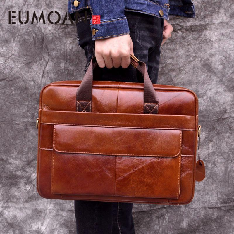 Eumoan Genuine Leather Genuine Leather Laptop Bag Handbags Cowhide Men Crossbody Bag Men's Travel Brown Leather Briefcase Y190627