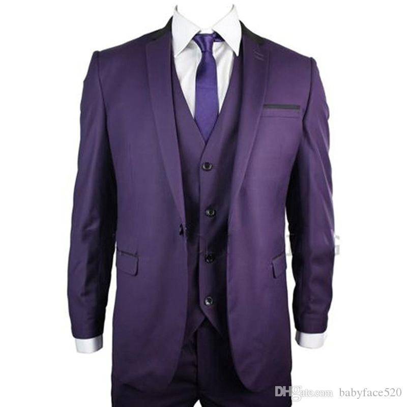 Purple Formal Men Suits for Wedding Tuxedo Three Piece Jacket Pants Vest Custom Made One Button Wedding Groom Tuxedos 2019 Best Men Suit