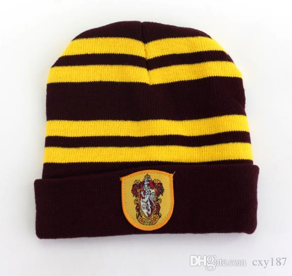 Hat Hogwarts Stripe Hat Free Shipping Blended Wool Embroidery Badge Cap Harri Potter College Hat Wholesale