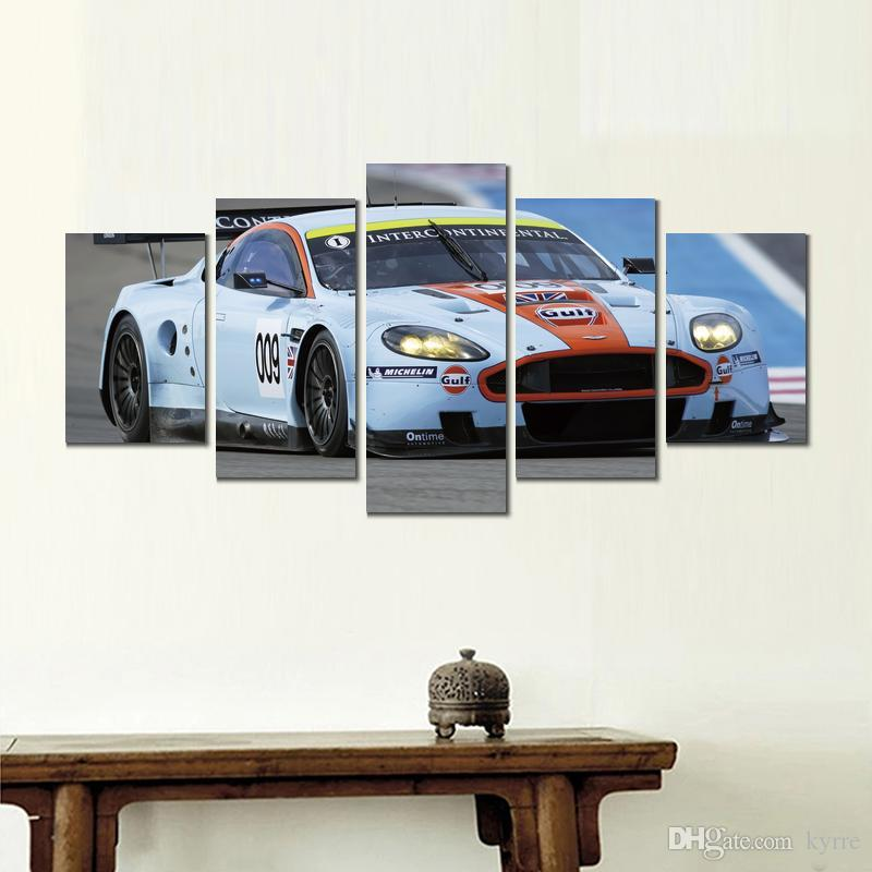 Canvas prints paintings aston martin dbr white racing car 5 sets print wall pictures for room decor