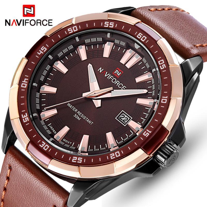 f242b3b86bdd Compre NAVIFORCE Relojes Para Hombre Top Marca De Lujo Moda Relojes  Deportivos Hombres Reloj De Cuarzo Impermeable Reloj De Pulsera De Cuero  Del Ejército ...