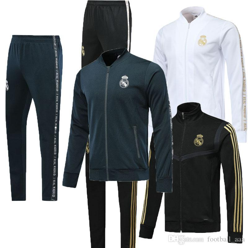 2020 New Real Madrid soccer training suit full zipper tracksuit kit 19 20 RONALDO MODRIC BALE MARCELO ISCO real madrid football jacket pant