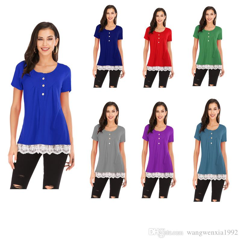 2019 New Fashion Womens Tshirt Casual Loose Buttons Lace Patchwork Tops Tees Shirt