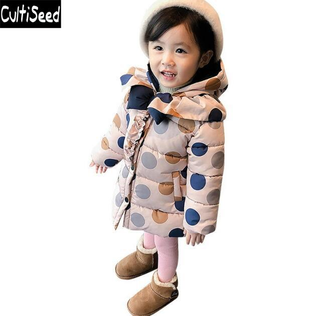 Cultiseed Baby Girls Winter Warm Thicken Down Parka Coats Clothing Baby Children Color Polka Dot Printing Cotton Outerwear Coats