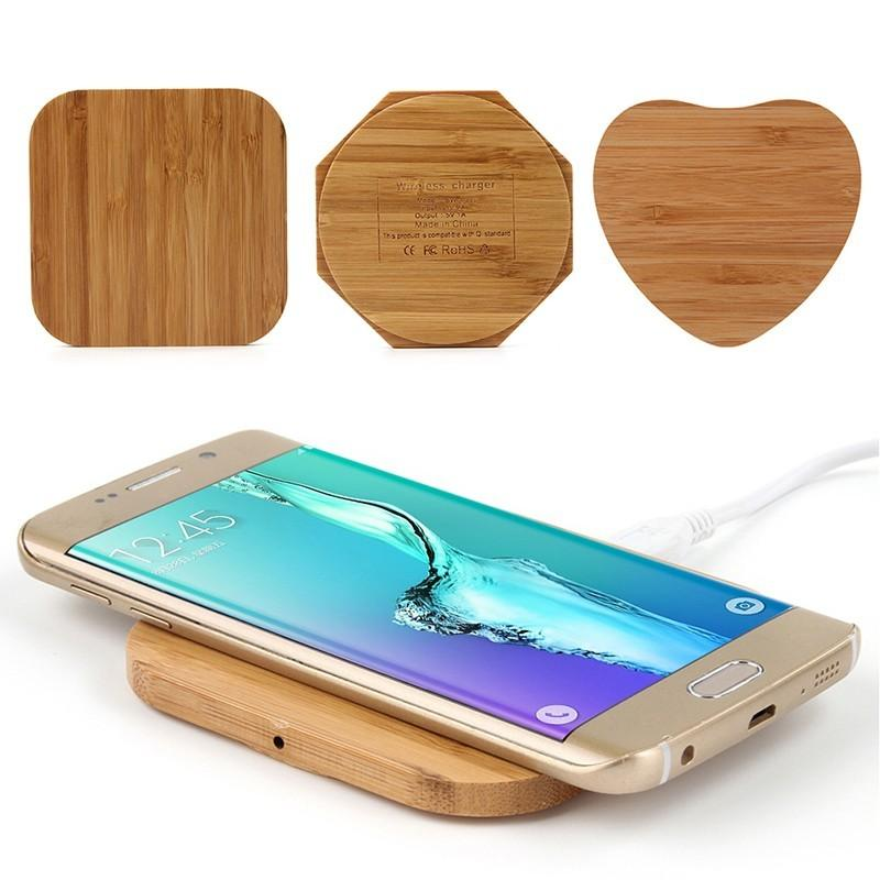 Universal Bamboo Wood Wooden Qi Wireless Charger Pad Qi Fast Charging Pads for iPhone X 8 Samsung Galaxy S9 Plus S8 S7 edge