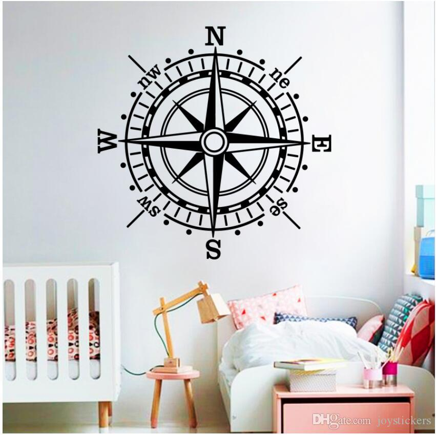 Rose of the Winds of the Sea Wall Stickers Home Decor Vinyl Compass rose Wall Decal Creative Mural For Children Kids Room