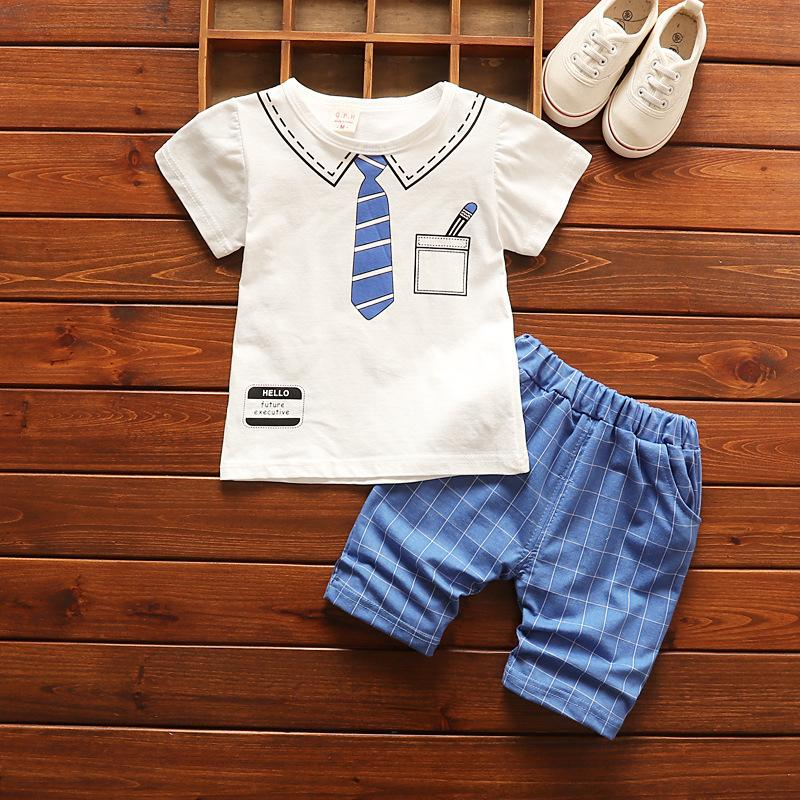 good quality 2019 Summer Cotton Baby Boys Clothing Sets Infants Fake Tie T Shirt + Shorts 2pcs Kids Fashion Style Clothes Suits