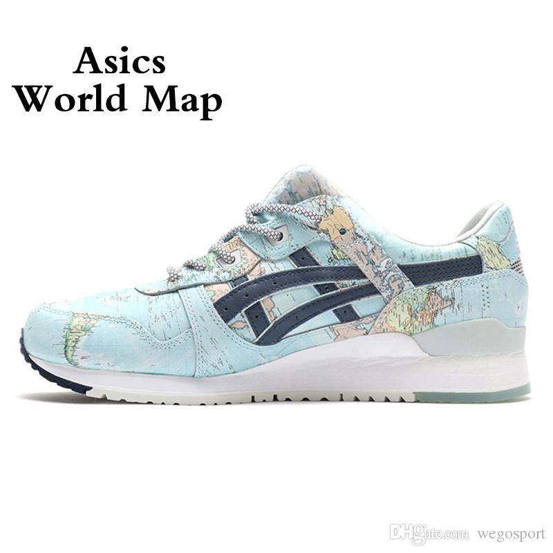 new products 1cdca 032c0 Acheter 2019 Asics X Atomes GEL LYTE III WORLD MAP Nouveau Hommes Femmes  Chaussures De Course Meilleure Qualité Créateur De Mode Sport Baskets 36 44  De ...