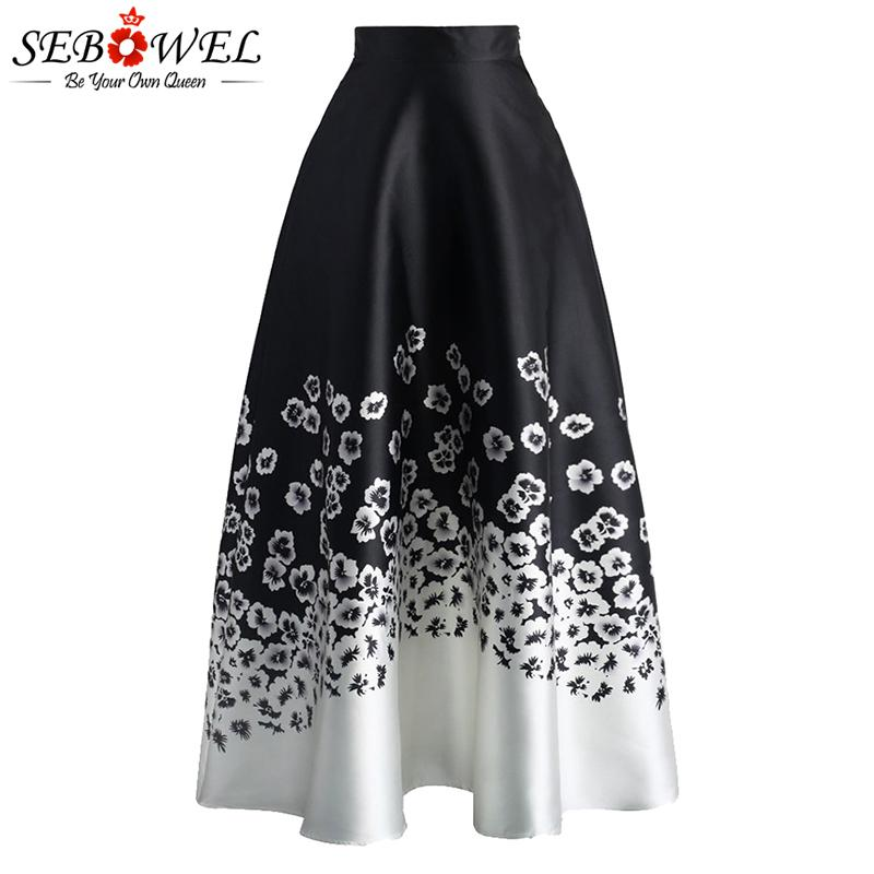 712b5ed79c9e 2019 Sebowel Vintage Floral Print Long Skirt Women Elegant High Waist Black  White Flower Maxi Skirt Casual Off Lady Midi Skirts 2019 Y19043002 From ...