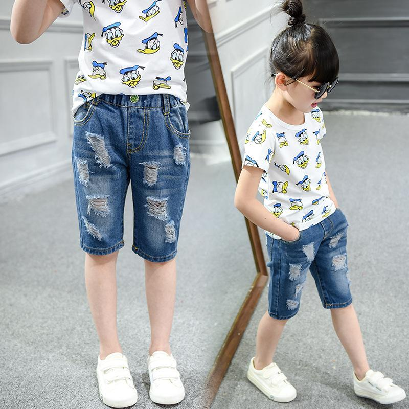 527f6606c 2018 New Summer Elastic Waist Girls Jeans Fashion Children Broken Hole  Denim Short Pants Kids Ripped Jeans for Girls Teenagers Online with  $43.32/Piece on ...