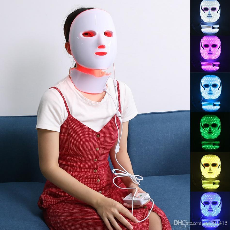 Wireless 7 Color LED Photon Therapy machine Rechargeable Facial and neck mask for Skin Rejuvenation Acne Removal LED beauty machine