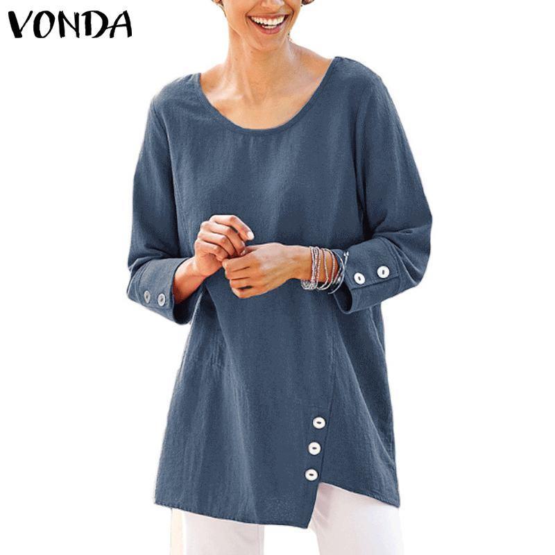 a1dca7fcd VONDA 2019 Blusas asimétricas de primavera y verano de mujer de manga larga  ocasional Botton Camisa OL para mujer Blusa Tallas grandes Blusas sueltas
