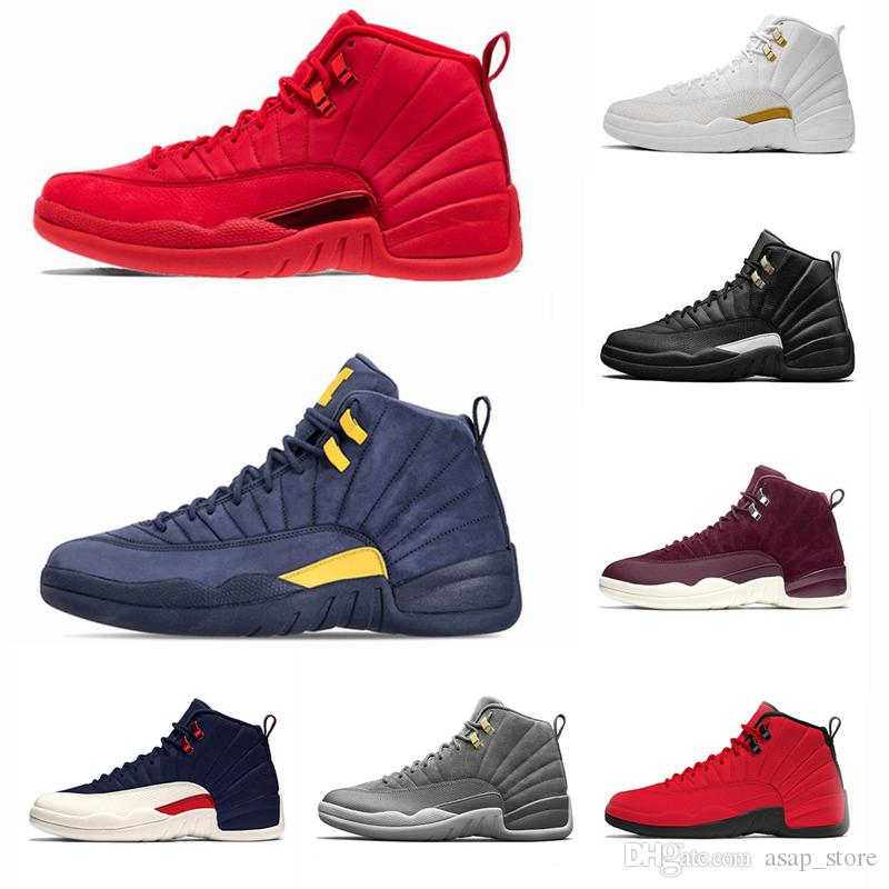 a41e99923a6b 2018 Mens Basketball Shoes Gym Red Michigan 12 12s College Navy Bulls UNC  Flu Game The Master Black White Taxi Sports Sneaker Trainers Shoes  Basketball ...