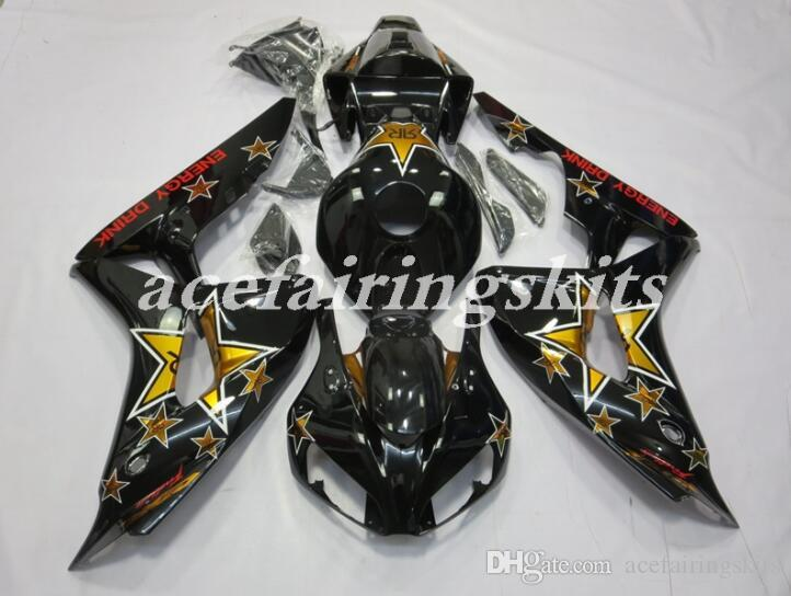 4 Gifts New ABS motorcycle Full Fairings Kit Fit For HONDA CBR1000RR 2006 2007 06 07 CBR1000 1000RR Fairing set Black gold