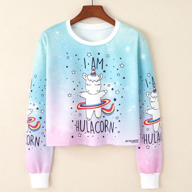 6f84cda968 2019 2017 Harajuku Kawaii Sweatshirt Women Kpop Clothes Cropped Pullover  Pineapple Unicorn Christmas Print Casual Crop Top Jumper From Xisibeauty