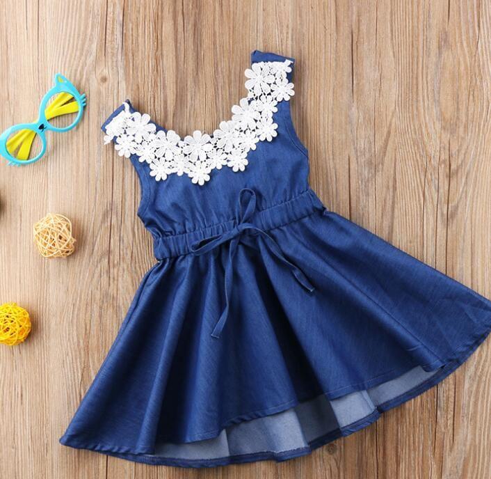 ec43cc5bdf3df 2019 Summer Toddler Kids Baby Girls Dress Lace Floral Denim Princess Party  Tutu Dress Baby girl dresses Clothes 1-6T