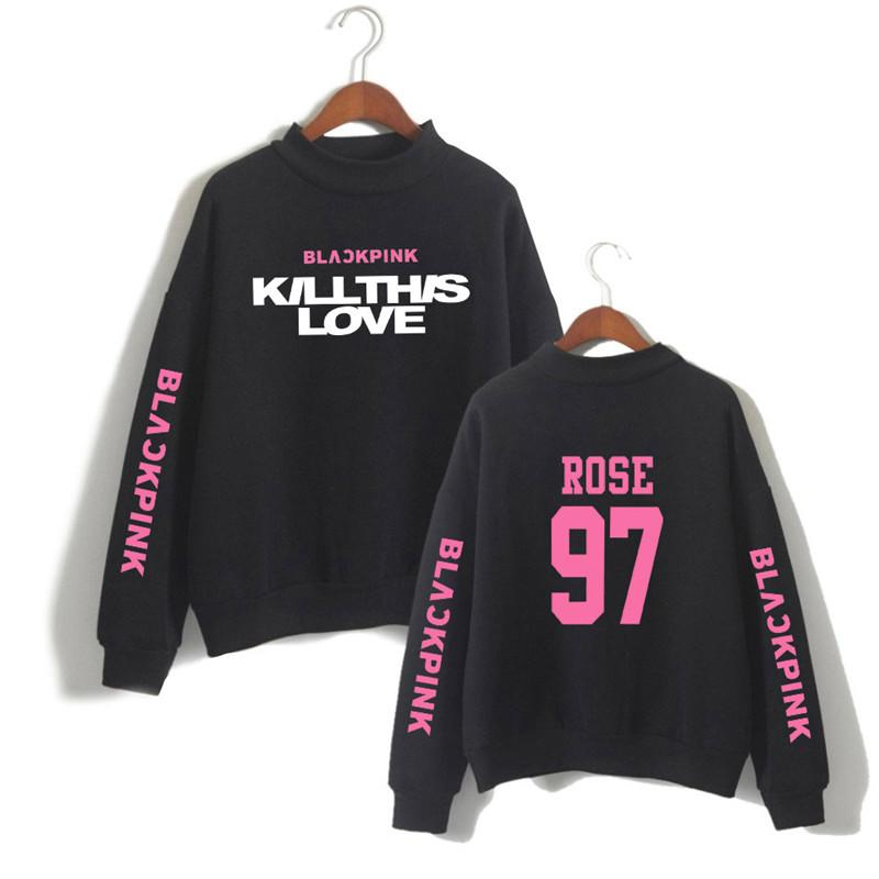 XXS-4XL Blackpink Turtleneck Sweater Song Kill This Love and red Rose 97  Printed Long Sleeve Casual Pullover Sweatshirt Women Blouse Top
